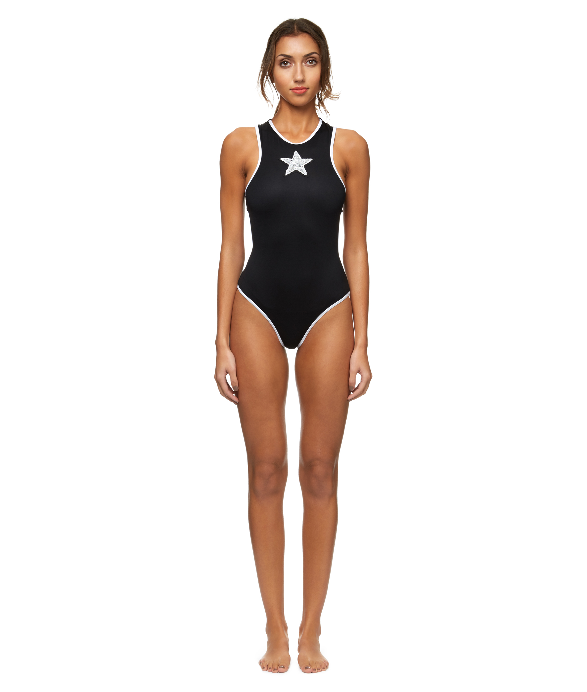 Lola | High neck embroidered swimsuit