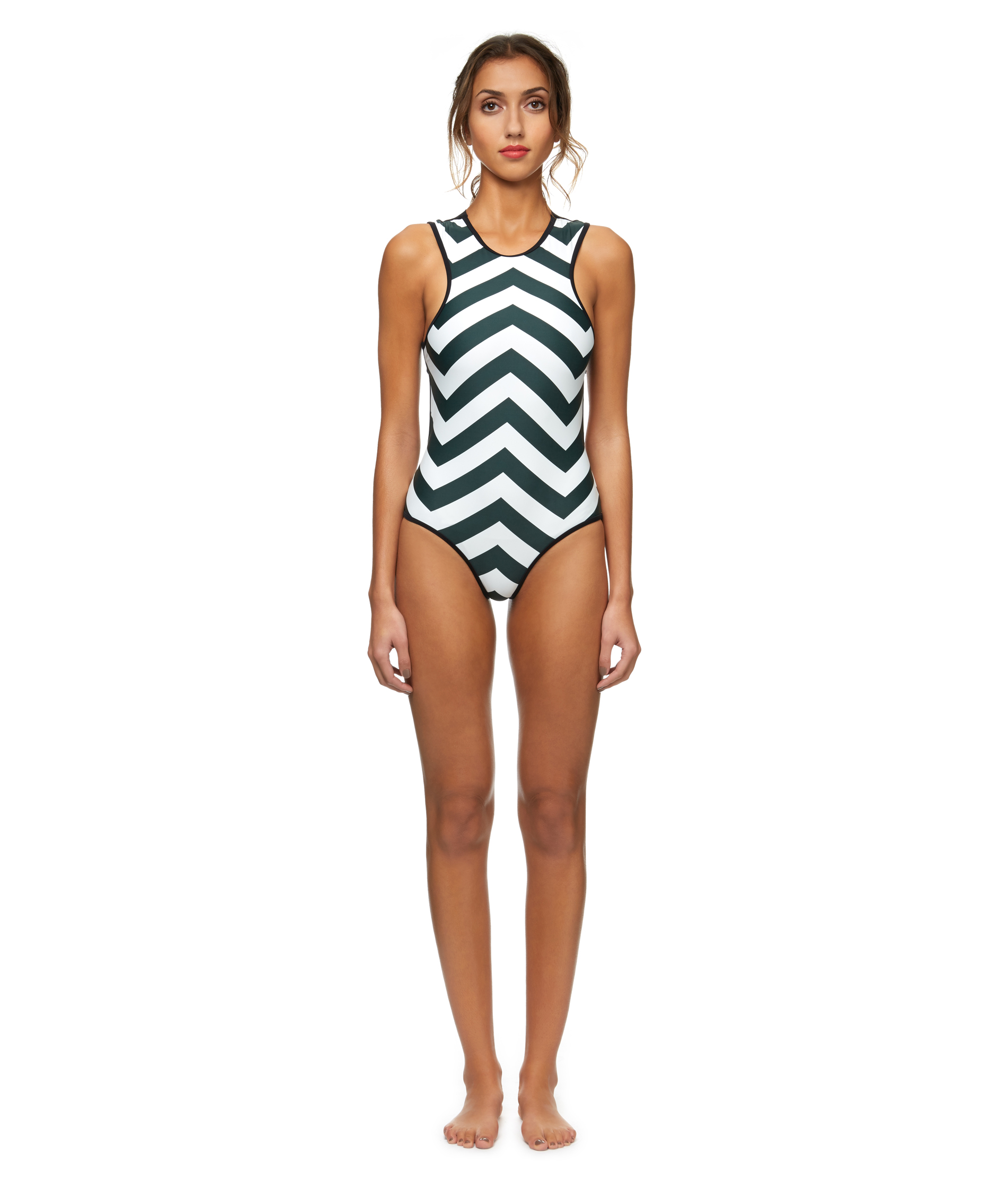 Retro |  Zig Zag  High Neck Swimsuit