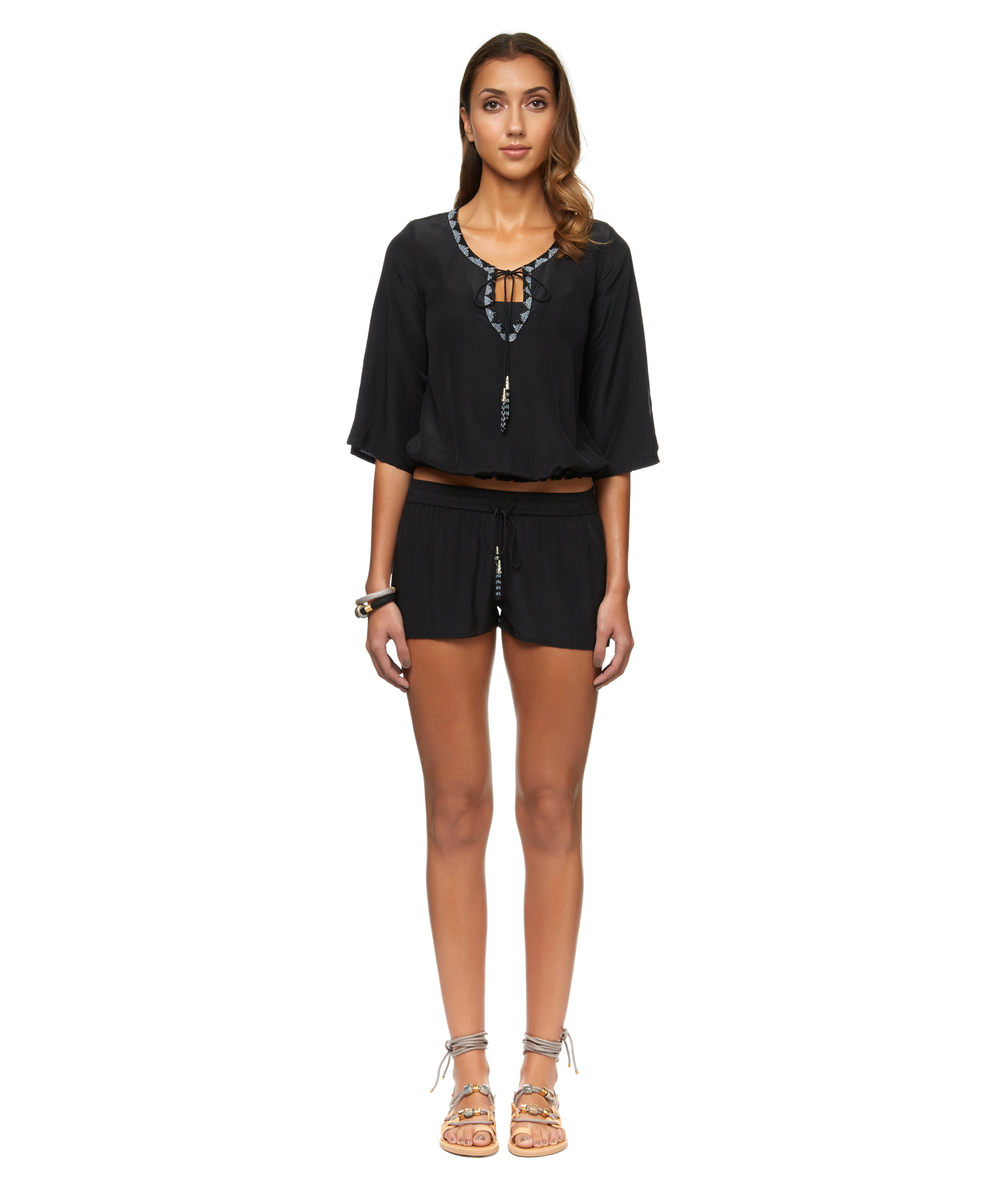 Ibiza  | Crepe Embroidered Blouse and Shorts